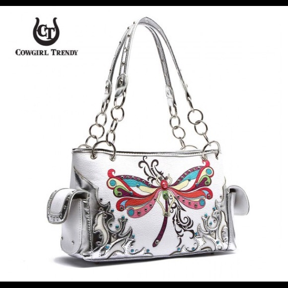 Great dragonfly white silver bag satchel